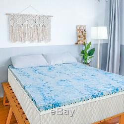 2.5/3/4 Inch Gel Memory Foam Mattress Topper Blue Swirl Lavender Queen King Twin