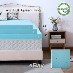 2.5,3,4 Inch Gel Memory Foam Mattress Topper Lavender Blue Swirl Queen King Twin
