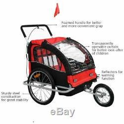 2 in 1 Double Baby Bicycle Trailer Carrier Bike Kids Jogger Stroller Twins Pull