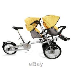 3 in1 Folding Mother Bicycle Twin Baby Toddler Stroller Pushchair Bike 2 Seats
