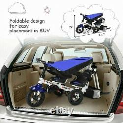 4-In-1Twins Double Kid Easy Steer Stroller Children Toy Tricycle Detachable Blue