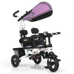 4-In-1Twins Double Kid Easy Steer Stroller Children Toy Tricycle Detachable Pink