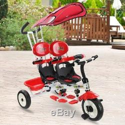 4 In 1 Twin Kids Baby Tricycle Stroller Safety Double Rotatable Seat