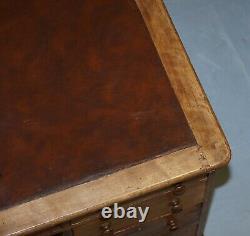 Antique English Victorian Double Sided Oak Twin Pedestal 18 Drawer Kneehole Desk