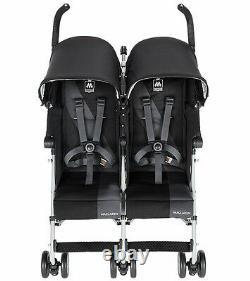 BLACK Maclaren Twin Triumph Double Light Weight Stroller INTERNATIONAL SHIP