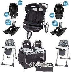 Baby Boy Double Stroller 2 Car Seats Two High Chairs Playard for Twins Combo Set