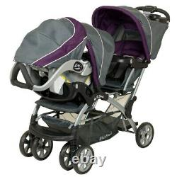Baby Combo Double Stroller with 2 Car Seats Twins Nursery Center Bag Travel Set