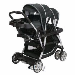 Baby Double Stroller Sit and Stand Two Car Seat Two Bases Twins Travel System