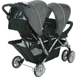 Baby Double Stroller Twin Wagon Easy Fold W Canopy Two Black Seat Child Infant