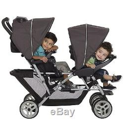 Baby Double Stroller with 2 Matching Car Seats Infant Combo Travel System Set