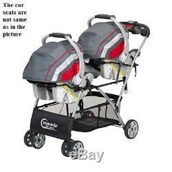 Baby Girl Boy Twins Nursery Center Double Stroller Frame 2 Car Seats Diaper Bag