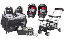 Baby Girl Combo Set Double Stroller Frame with 2 Car Seats Twins Nursery Center