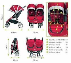 Baby Jogger City Mini Double Twin Stroller, Crimson/Gray
