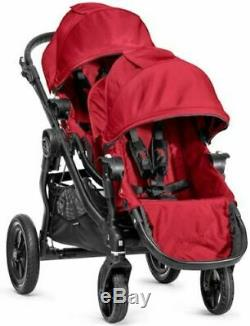 Baby Jogger City Select Twin Double Stroller Red with Second Seat & Bassinet NEW