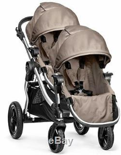 Baby Jogger City Select Twin Tandem Double Stroller Quartz w Second Seat NEW