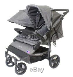 Baby Monsters Easy Twin 2.0 Double Stroller in Texas Grey Melange Free Shipping