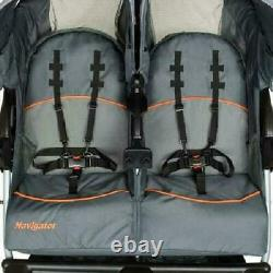 Baby Navigator Double Jogging Stroller For Twin Kids Vanguard Ratcheting Canopy