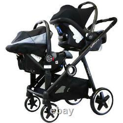Baby Newborn Pram System Twin Tandem Pushchair +2nd Seat +Carseats +Adaptors New