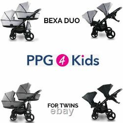 Baby Pram Bexa DUO FOR TWINS, Double Pushchair + 2xCar Seat, 4in1 Travel System