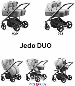 Baby Pram Jedo DUO FOR TWINS, Double Pushchair + 2xCar Seat, 4in1 Travel System