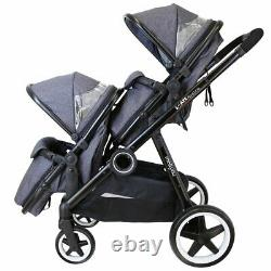 Baby Pram System Double Twin Travel Tandem Pushchair Buggy Stroller Cookie New