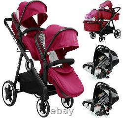 Baby Tandem Double Twin Pram Travel System + Carseat, Carrycot & Raincover New