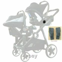 Baby Tandem Double Twin Pram Travel System Grey + Carseat, Carrycot & Raincover