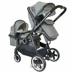 Baby Tandem Double Twin Pram Travel System Harmony Pushchair Stroller New