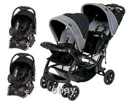Baby Trend Double Stroller Travel Set with 2 Car Seats Twins Combo