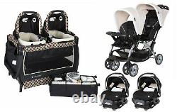 Baby Trend Double Stroller with 2 Car Seat Twin Playard Crib Travel System Combo