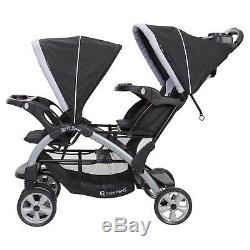 Baby Trend Sit N Stand Infant Toddler Twin Tandem 2 Seat Double Stroller, Stormy
