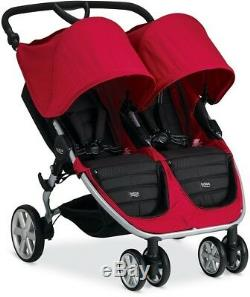 Baby Twin Automatic Fold Height Adjustable Handle Double Stroller with Canopy