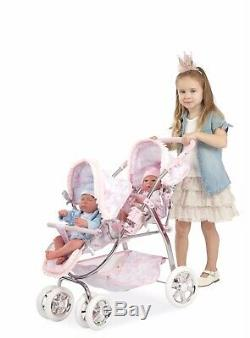 Baby Twin Doll Stroller Double Buggy Pushchair Pink With White Pram Twin Doll