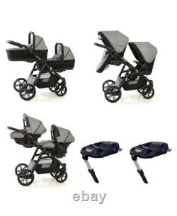 Baby Twin Travel System Double Pushchair Car Seats Cot BARGAIN Onyx Tandem