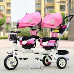 Baby Twin Tricycle Stroller 3 Wheels Double Stroller for Kids Twins Guardrail
