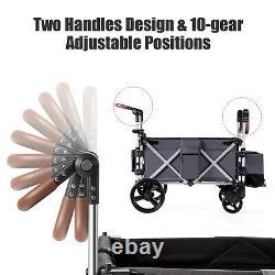 Babyjoy 2 Passenger Push Pull Folding Twin Double Stroller Wagon withCanopy Drapes