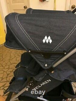 Barely Used Maclaren Twin Triumph Double Stroller in Denim-RARE