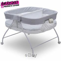 Bassinet Twin Infant Sleeper Double Easy Fold Ultra Compact Baby Crib Aqua Geo