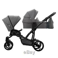 Bebetto 42 Simple 2in1 twin stroller double pram pushchair tandem