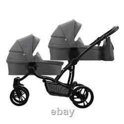 Bebetto 42 Simple 3in1 twin stroller double pram pushchair tandem 2x car seat