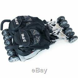 Black Twin Double Pram Stroller Buggy Inc Raincover Bag & Luxury Footmuffs