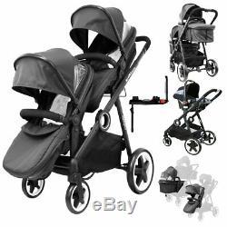 Blue Baby Boy Pram System & In Line Tandem Lightweight + Second Seat + Raincover
