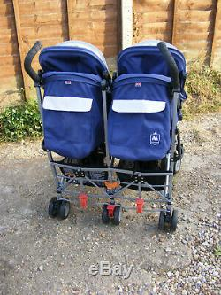 Blue Maclaren Twin Triumph Double Seat Umbrella Buggy Pushchair Stroller