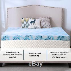 Blue Swirl 3''/4'' Memory Foam Mattress Topper Gel Queen King Twin Full Soft