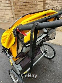 Bob Ironman Duallie Twin Baby Jogger Double Jogging Stroller Yellow Pre owned