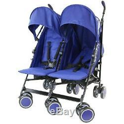 Boys Blue Navy Twin Stroller Buggy Pushchair inc Raincover Parasol & Footmuffs