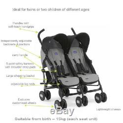 Boys Girls Chicco Lightweight Twin Double Black Grey Stroller Buggy in Raincover
