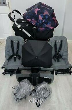 Bugaboo Donkey2 Twin Double Pushchair Pram Unisex New Hoods / black Mono / Duo