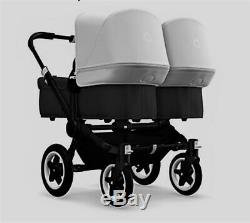 Bugaboo Donkey2 Twin Seat and Bassinet Stroller Black withWhite Canopy (2019)