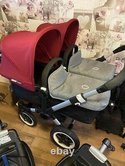 Bugaboo Donkey Complete Twin Set 2 Seats, 2 Carrycots, 2 Car Seats & 2 Isofix
